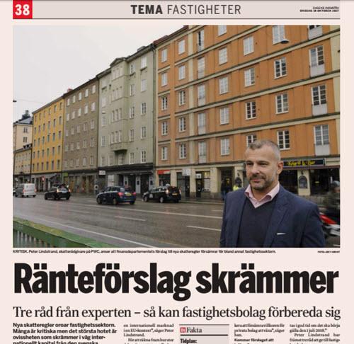 PwC:s skatterådgivare Peter Lindstrand intervjuas i Di: Ränteförslag skrämmer